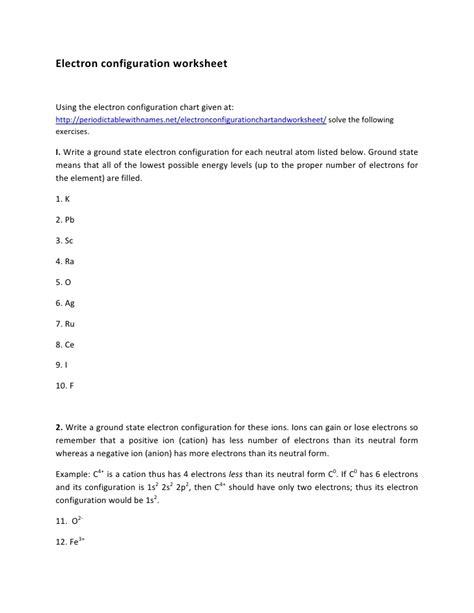 electron configuration worksheet answers electron configuration worksheet