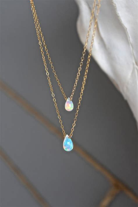 opal drop layers stones style and drop necklace