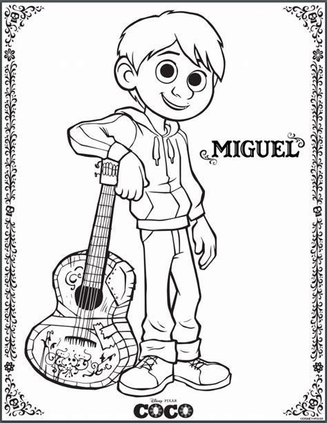 Printable Disney Coco Coloring Pages And Miguel Coloring Pages