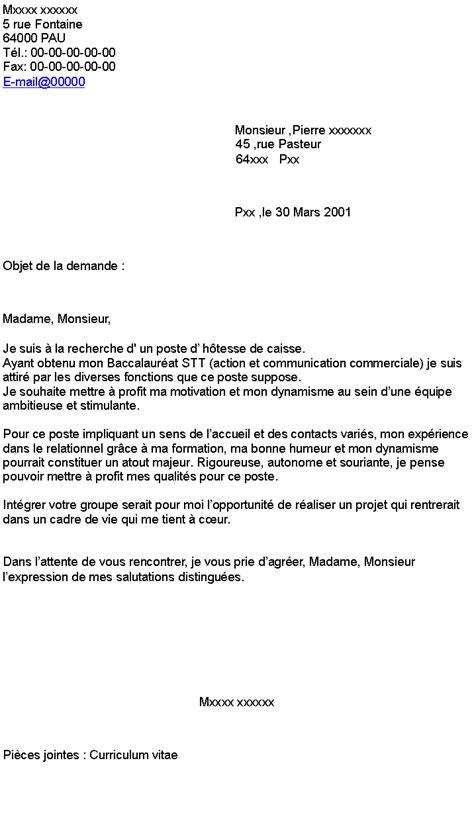 Lettre De Motivation Hotesse De Caisse D Butant modele lettre de motivation caissiere 28 images lettre