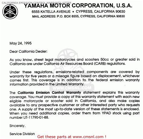 Customer Warranty Letter 93 Customer Warranty Letter Letter Sle