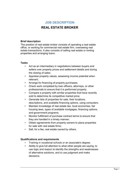 Real Estate Description Template Real Estate Broker Job Description Template Sle Form Biztree Com
