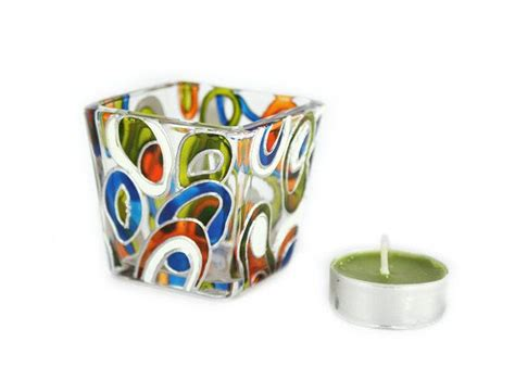 glass candle holder tea light painted mini candle holder painted glass stained glass