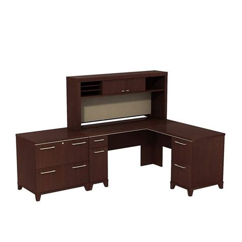 L Shaped Desk With Bookcase Saratoga L Shape Executive Desk With Bookcase And File Drawer In Cherry Ex45670 Pkg3