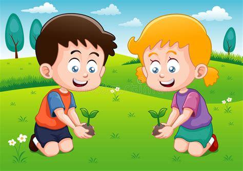 imagenes de jardines de niños animados los ni 241 os est 225 n plantando la peque 241 a planta en jard 237 n