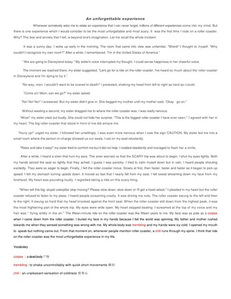 An Essay About My by Unforgetabble Experience Essay