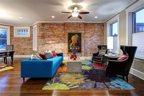 Brick Living Room Furniture Colorful In Blue Rug And Plush Chairs Make A Vivacious Living Room Design S K Interiors