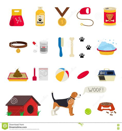 puppies and stuff care object set items and stuff vector illustration food stuff bone