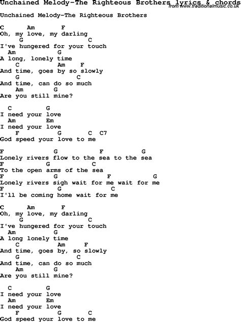 testo unchained melody song lyrics for unchained melody the righteous