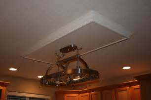 handmade drop ceiling with hanging pot rack by charles