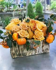 martha stewart fall centerpieces flower arrangement in a birch bark vessel