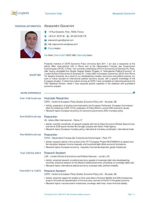 Modelo Europass Curriculum Vitae Word Alessandro Giovanini Cv Europass
