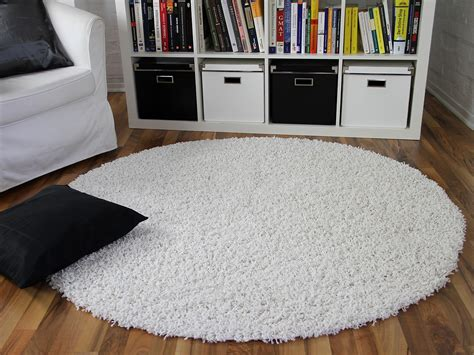 teppich rund schwarz hochflor langflor shaggy teppich aloha weiss rund teppiche