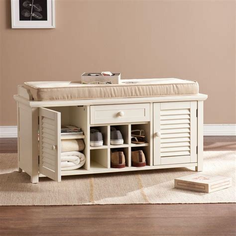 shoe storage bench white southern enterprises joshua antique white shoe storage