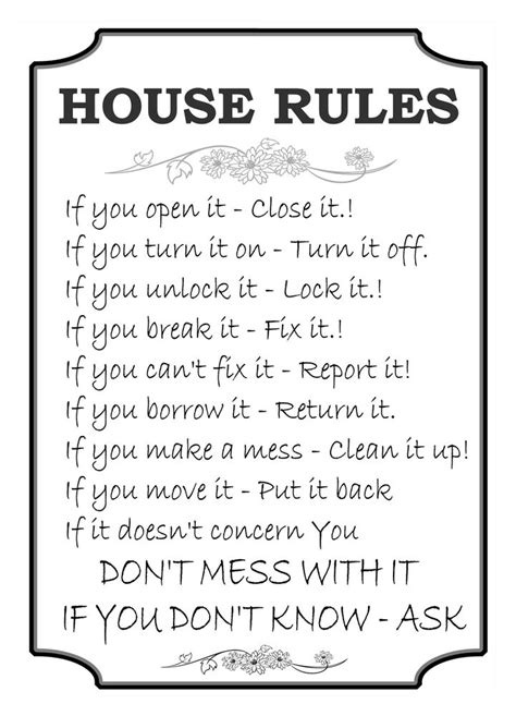 printable house rules poem fun house rules print sign plaque canvas family