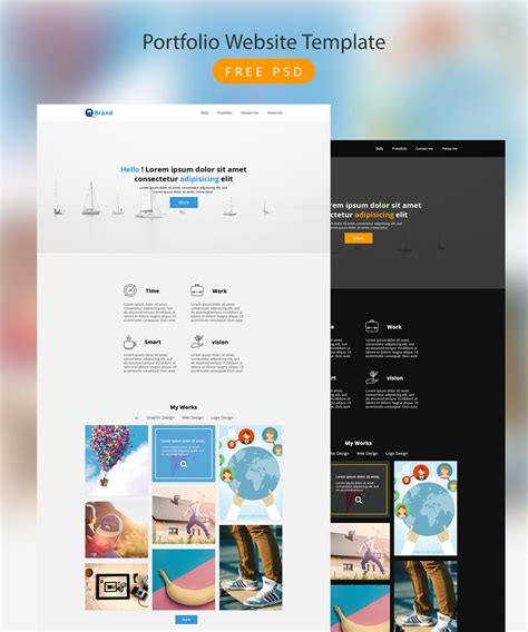 download free portfolio website template free psd download
