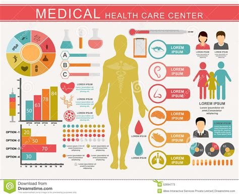 how to care for human set of health care center stock illustration