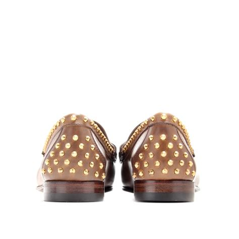 gucci studded loafers gucci moccasin 1953 studded leather loafers in brown lyst
