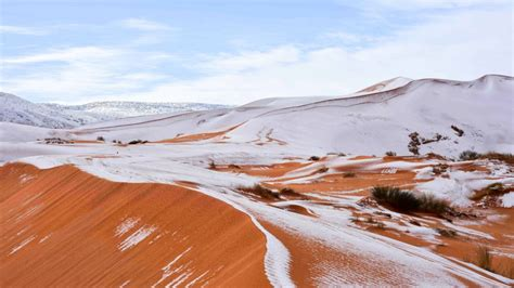 snow in desert it snowed in sahara desert again and god does it look