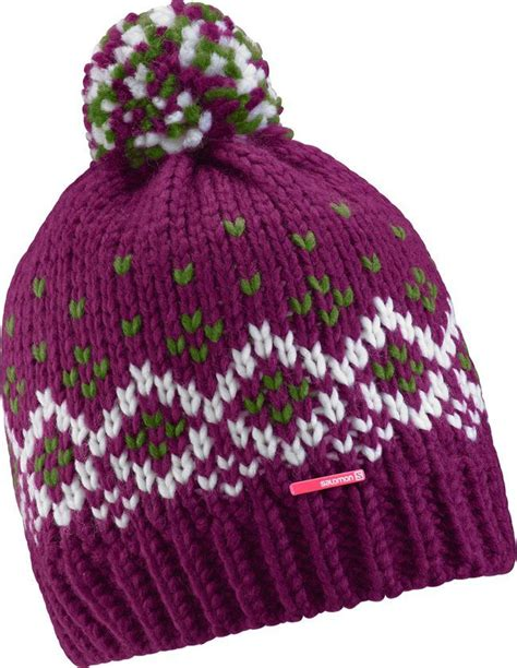 salomon womens pearl beanie berry green white