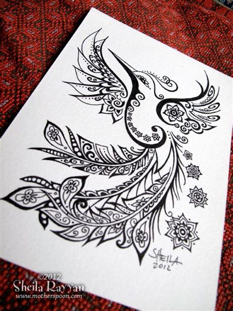 hummingbird henna tattoo peacock hummingbird original ink drawing 50 00 via