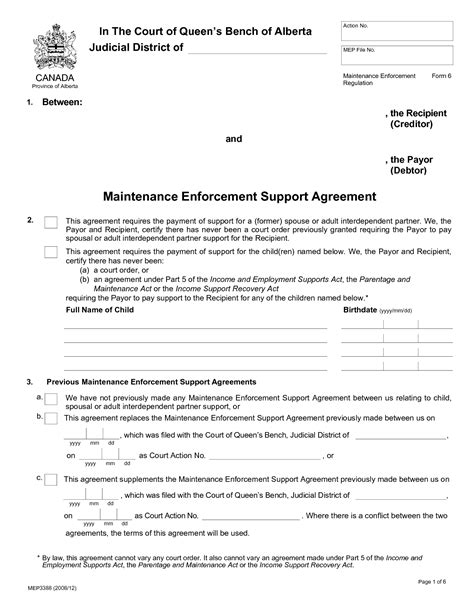 child support agreement between parents form free