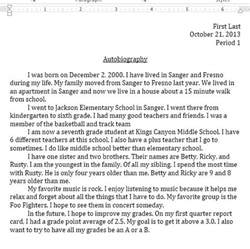 Autobiography Template For Middle School by Autobiography Report Middle School Computer Projects