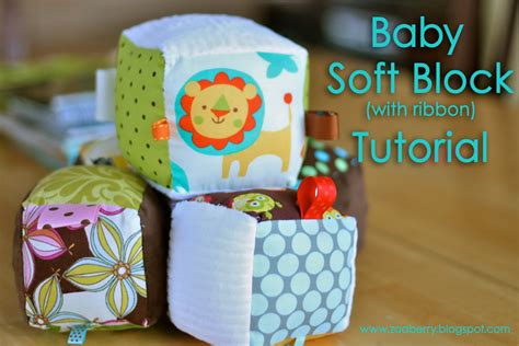 Easy Handmade Baby Gifts - zaaberry baby soft block with ribbon tutorial