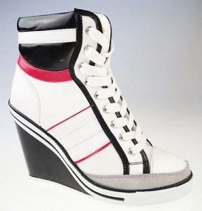 high top wedge heel sneaker velcro lace up tennis