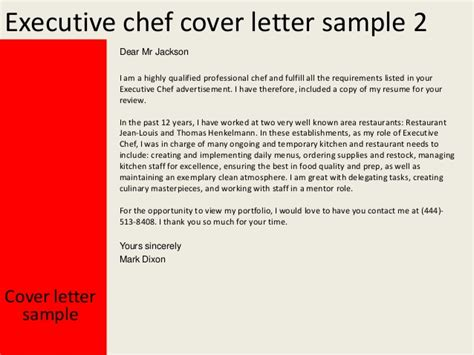 cover letter for executive chef executive chef cover letter