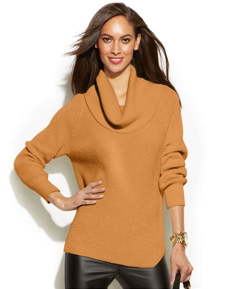 Brown Cowl Neck Knit Sweater 15819 Michael Kors Michael Chunky Knit Cowl Neck Sweater