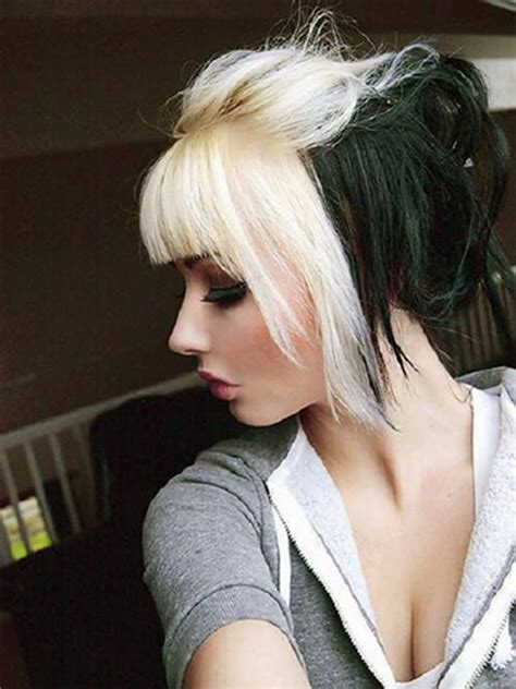 how to dye hair with black chunks blonde and burgundy chunks long hairstyles