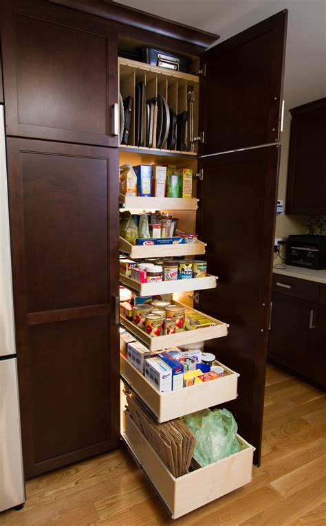 Rectangle Corner Kitchen Pantry Cabinet With Dark Brown Cabinet Pull Out Shelves Kitchen Pantry Storage
