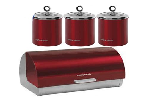 Kitchen Canisters Red Morphy Richards S S Roll Top Bread Bin Tea Coffee Sugar
