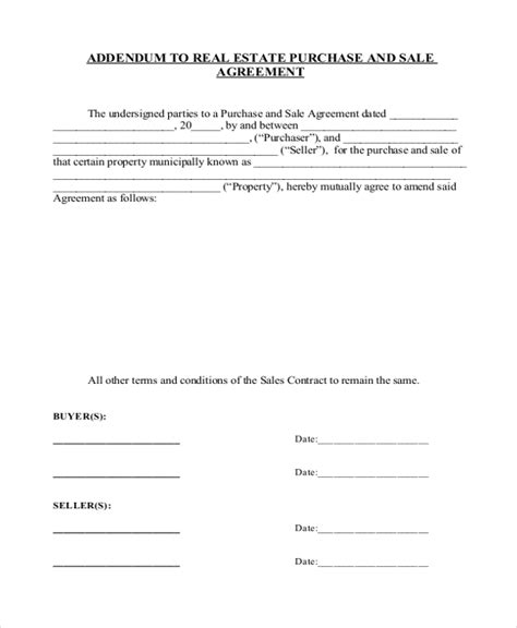 sales contract addendum template