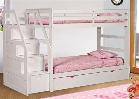 White Bunk Bed Stairs Attractive Design Of White Bunk Bed With Stairs