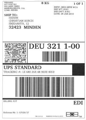 Versandaufkleber Drucken by Versandetiketten F 252 R Ups Dhl Gls U A Drucker