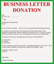Business Letter Requesting Donations Business Letter Business Letter Donation