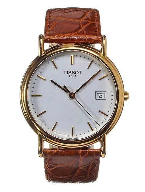 Tissot Gold Leather tissot 18ct gold and leather gent s wrist