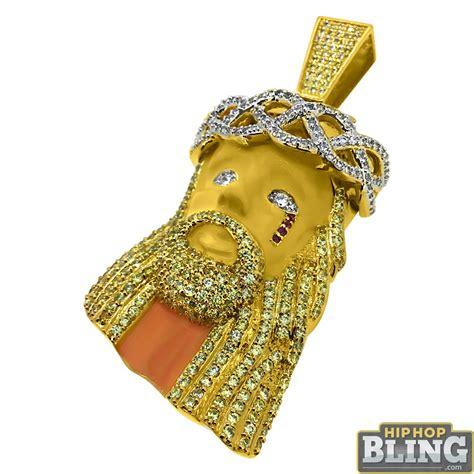 Bling Bling Jesus Pendant by Painted Jesus Large Cz Bling Bling Pendant