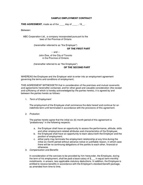 employment contract template pdf free printable employment contract sle form generic