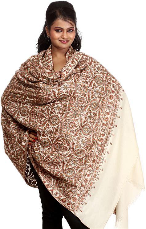 ivory original pashmina shawl with embroidered