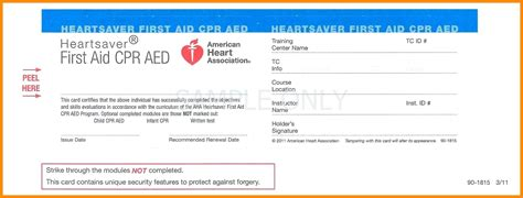 2016 american association cpr card template cpr aid certificate template images certificate