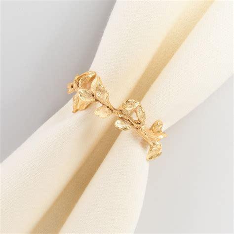 napkin rings gold leaf napkin rings set of 4 world market