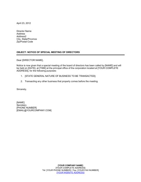 notice of meeting template sle board meeting invitation letter sle board