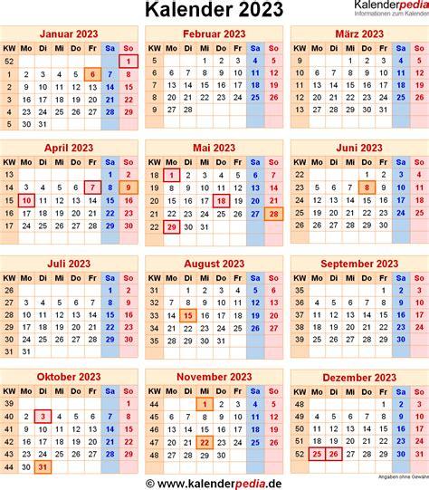 Kalender Mit Kw Und Feiertagen Kalender 2023 Mit Feiertagen Und Kalenderwochen