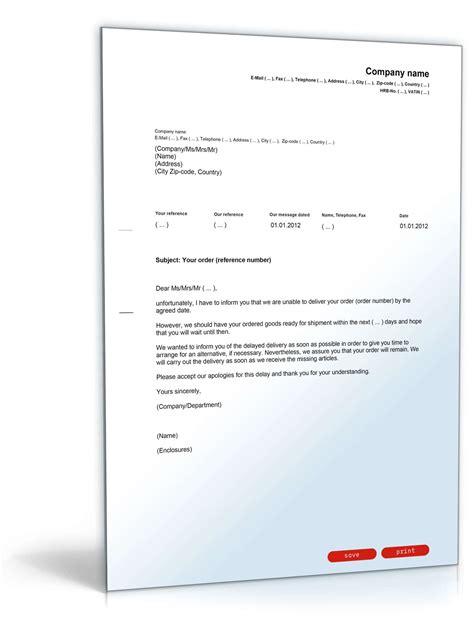 Brief Zu Lieferverzug entschuldigung wegen lieferverzug englisch musterbrief zum