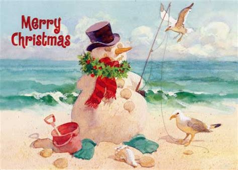 snowman  beach christmas card  red farm studios