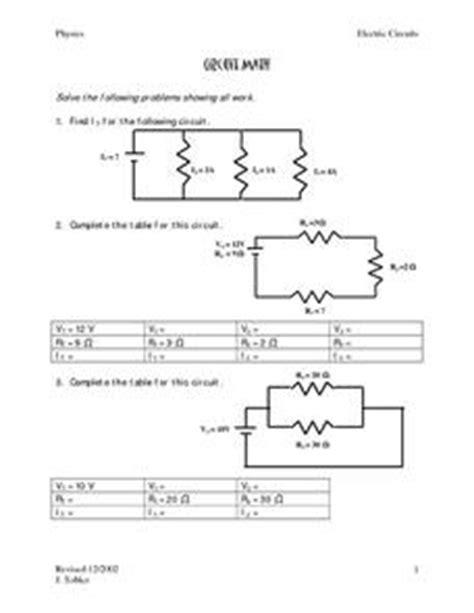 circuits resistors ws study guide and review circuit math 9th 12th grade worksheet lesson planet