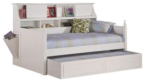Coaster Daisy Bookcase Wood Daybed With Under Bed Trundle White Daybed With Bookcase